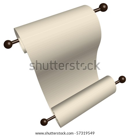 Old style blank paper scroll on wooden dowels - stock vector