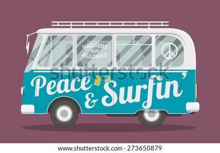 Old style brandless hippie van. Vector illustration of a retro surfers minivan side view. - stock vector