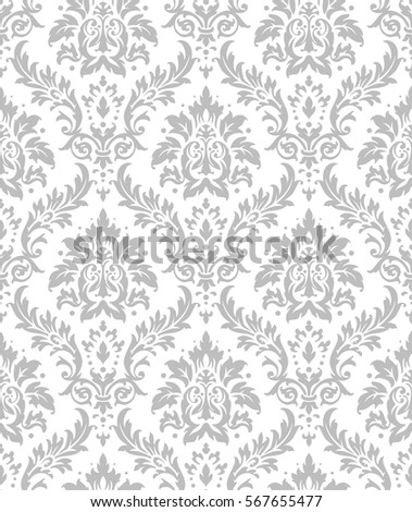 Old Style Damask Wallpaper Seamless Vector Floral Patterns