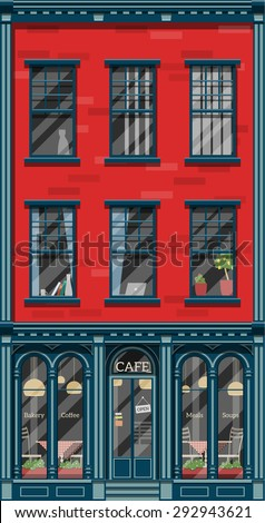 Old style detailed european house with a cafe on the ground floor. Flat style graphics with shadows and glass effects. - stock vector