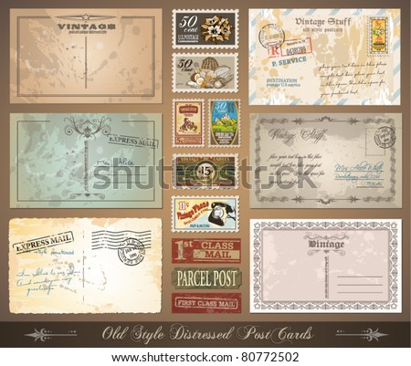 Old style distressed postcards with a lot of post stamps with vintage designs. Rubber stamp and first class mail sticker included. - stock vector