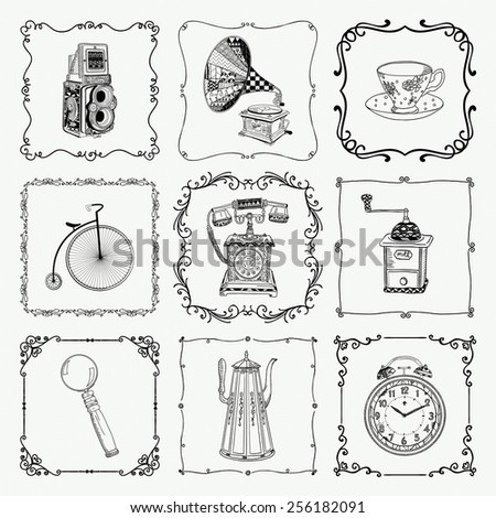 Old Style Hand-Drawn Doodle Icons and Vintage Frames. Vector Illustration. Fully Editable - stock vector