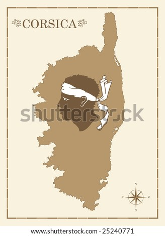 Old style map of corsica with Corsican emblem and compass rose, fully editable vector - stock vector