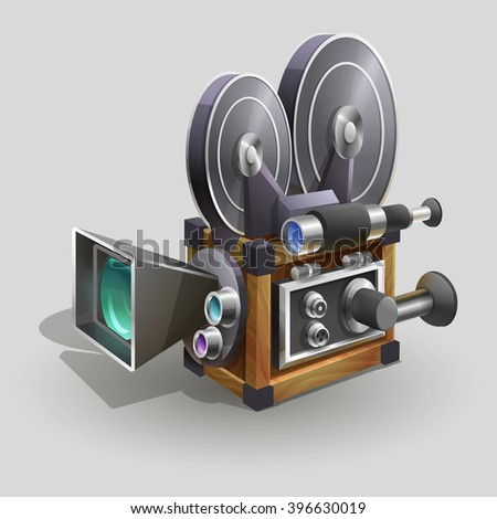 Old style movie camera. Vector illustration. - stock vector
