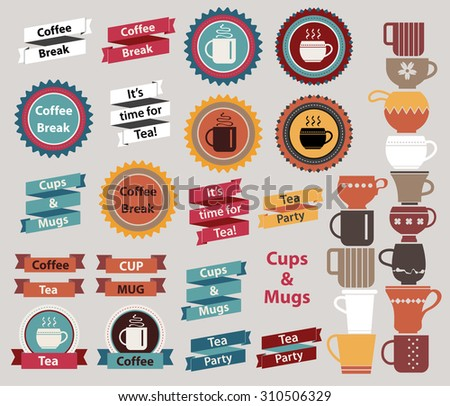 Old style seals, frames, ribbons and labels. Vintage design elements collection for Tea and Coffee design. Tea party, Coffee break concept. Various cups and mugs in blue, gold, red and brown colors. - stock vector