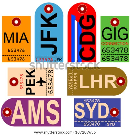 Old style vector illustration showing retro looking airplane tags with different airport codes - stock vector