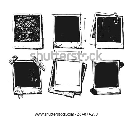 Old style vintage photo frame doodle vector set illustration - stock vector