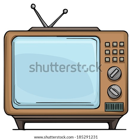 Old style, vintage TV set, vector illustration - stock vector