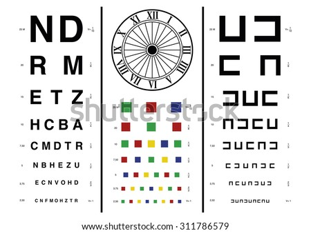 Old style vision test used by optometrists or ophthalmologists for check the human eyesight - stock vector