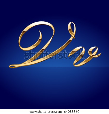 Old styled decorative characters of pure gold. Character  v - stock vector