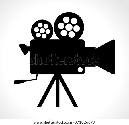 Blank white cinema background old camera stock vector for Camera film logo