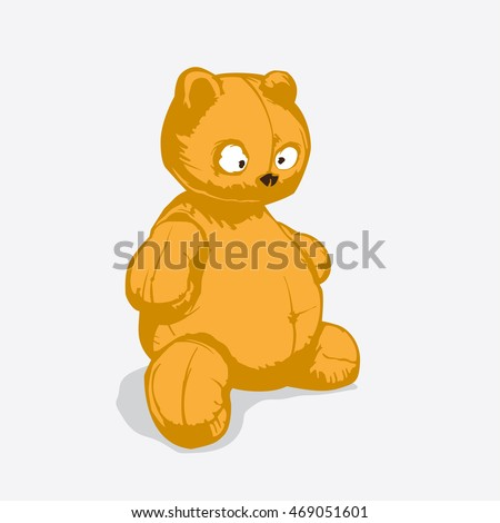 Old teddy bear, Vector illustration in flat, cartoon style isolated from the background, EPS 10