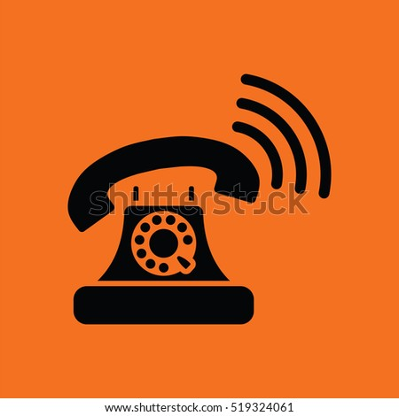 Old telephone icon. Orange background with black. Vector illustration.