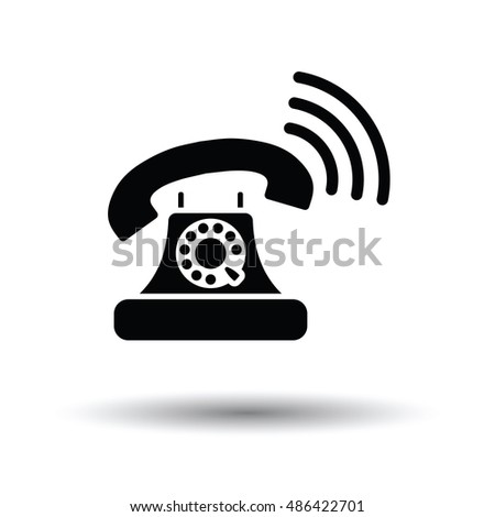 Old telephone icon. White background with shadow design. Vector illustration.