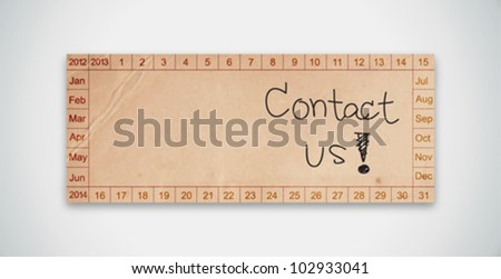 Old Texture Paper Calendar with Contact Us Word Vector - stock vector