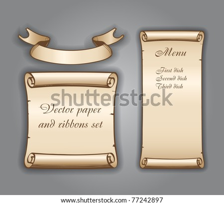 Old textured paper sheets and ribbon - stock vector