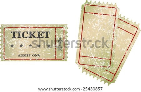 old  tickets - stock vector
