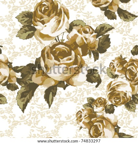 old time seamless rose pattern on curly leaves background - stock vector