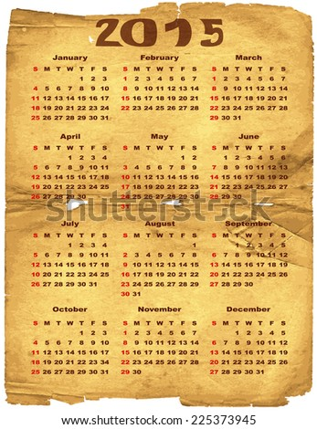 Old torn crumpled paper with calendar for 2015 (vector eps 10) - stock vector