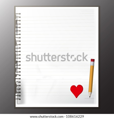 Old torn paper and lines with yellow pencil and red heart for decoration, vector eps 10 - stock vector