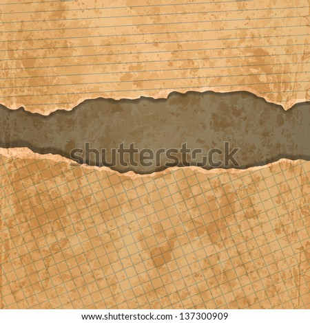 Old torn paper borders with soft shadow - stock vector