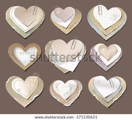 Old torn paper hearts - stock vector