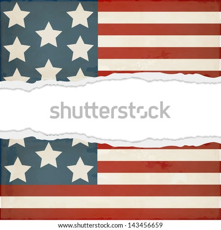 Old torn paper with the image of the American flag - stock vector