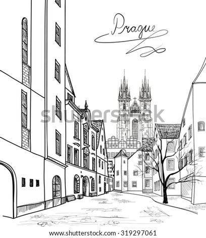Old Town of Prague, Czech Republic. Pedestrian street in the old european city with tower on the background. Historic city street. Travel Prague background. - stock vector