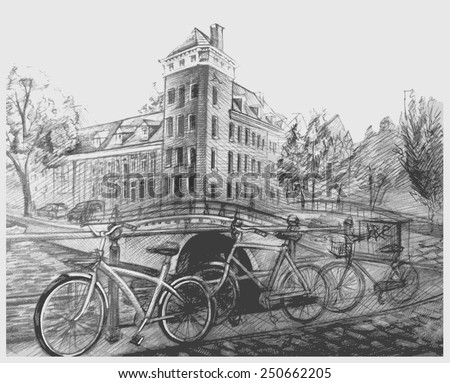 old town picture - stock vector