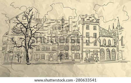 Old town street sketch on sepia paper background.Vector version - stock vector