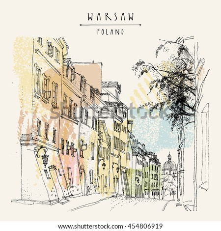 Old town street. Warsaw, Poland, Europe. Historical buildings line art. Travel sketchy drawing. Vintage touristic postcard, poster template. Artistic hand drawn calendar or book illustration in vector - stock vector