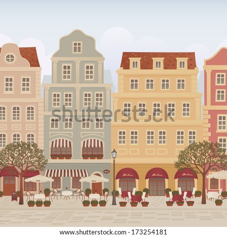 Old town street with cafes and restaurants - stock vector