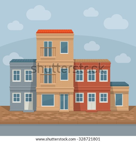 Old town street with retro building facades, front view. City background. Vector detailed illustration. - stock vector