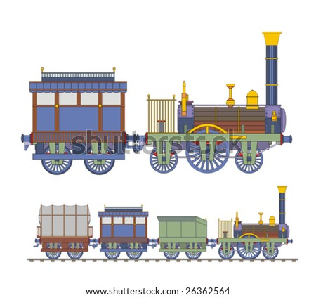Old train blue steam - stock vector
