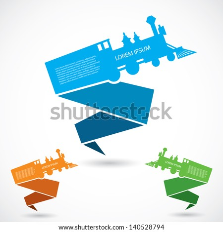 Old Train Origami Banners Vector Illustration Stock Vector Royalty