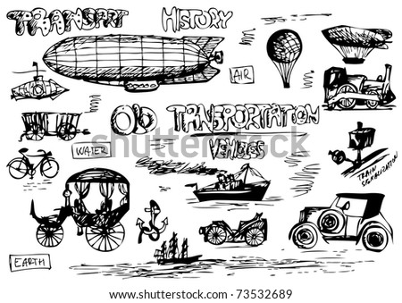 old transportation icons - stock vector