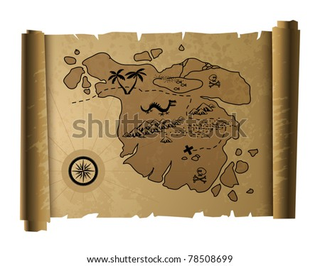 Old treasure map, vector illustration - stock vector