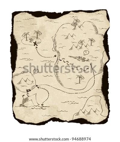 Old treasure map with burned edges. On white background, vector illustration. - stock vector