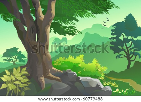OLD TREE, FLORA AND FAUNA BY HILLSIDE - stock vector