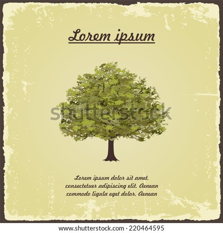 Old tree on vintage paper. Vector illustration - stock vector