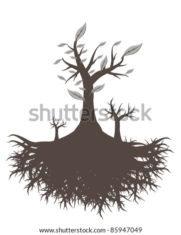 old tree root - stock vector