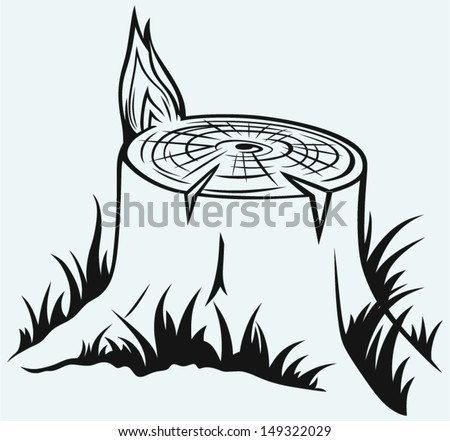 Old tree stump isolated on blue background - stock vector