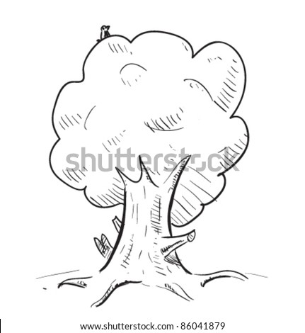 Old tree with hiding animals cartoon icon. Sketch fast pencil hand drawing illustration in funny doodle style. - stock vector