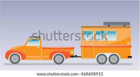 Old truck and Camping Caravan car  Vector Illustration