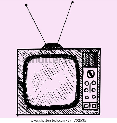 Old TV, doodle styles. sketch illustration - stock vector