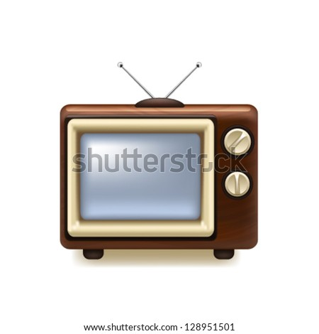 Old tv icon. Vector - stock vector