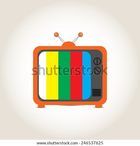 Old TV on a gray background - stock vector