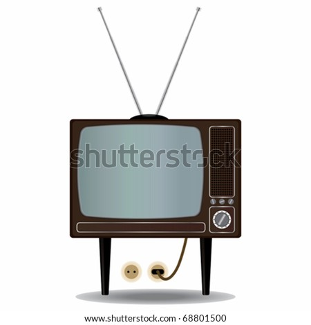 Old Tv set - stock vector