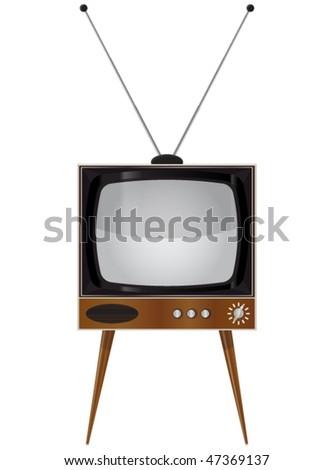 Old TV set - Vector illustration - stock vector