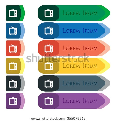 Old TV, Television icon sign. Set of colorful, bright long buttons with additional small modules. Flat design. Vector - stock vector